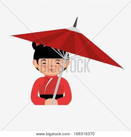 japanese culture beautiful geisha vector illustration design