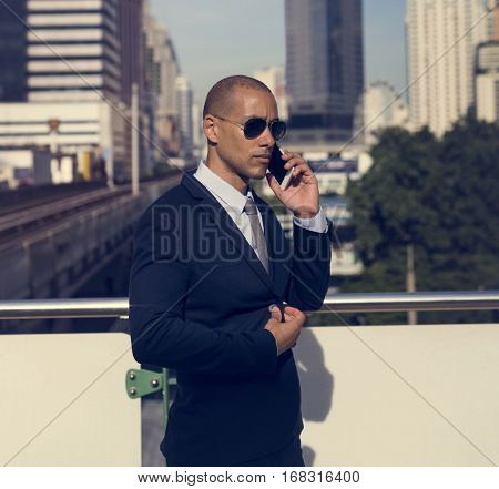 Businessmen African American Talk Calling Phone