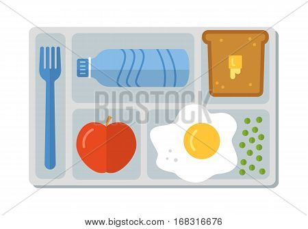 School lunch with scrambled egg with green peas, bread and butter, apple and bottle of water. Flat style. Vector illustration.