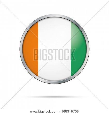 Vector Ivory Coast flag glass button style with metal frame.
