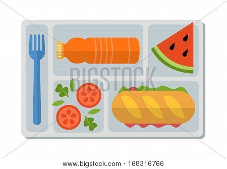 School lunch with ham sandwich from fresh baguette, vegetable salad, slice of watermelon and bottle of orange juice. Flat style. Vector illustration.