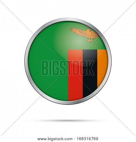 Vector Zambian flag button. Zambia flag glass button style with metal frame.