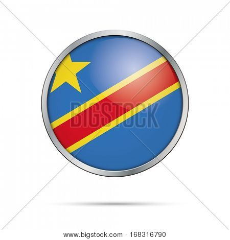 Vector Democratic Republic of the Congo flag glass button style with metal frame.