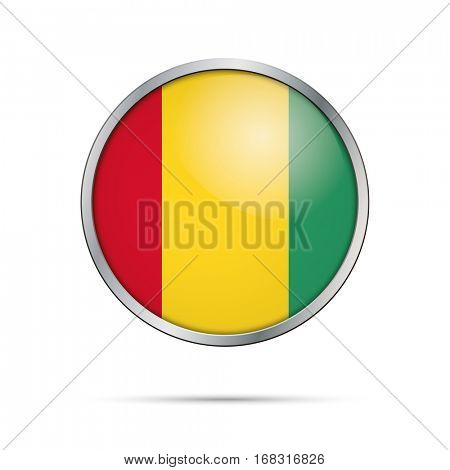 Vector Guinean flag button. Guinea flag glass button style with metal frame.