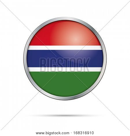 Vector Gambian flag button. The Gambia flag glass button style with metal frame.