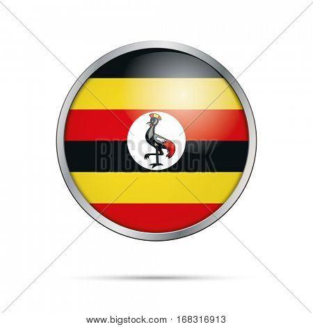 Vector Ugandan flag button. Uganda flag glass button style with metal frame.