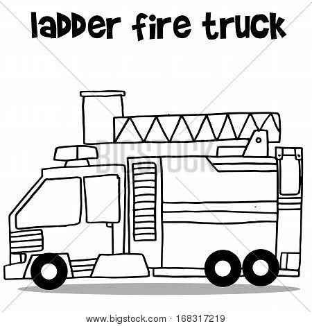 Ladder fire truck transport vector art collection stock