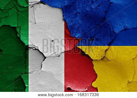 Flags Of Italy And Ukraine Painted On Cracked Wall
