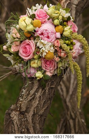 Colorful posy near the tree and grass outdoors. Posy made of roses.