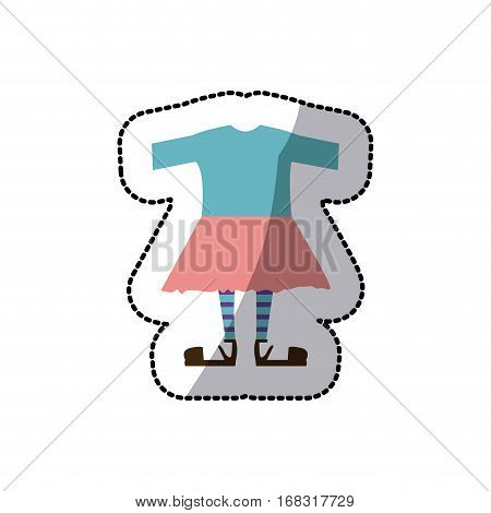 sticker color silhouette with female clothing pijama vector illustration