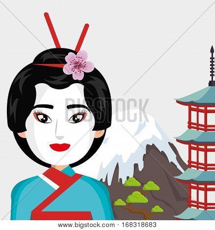 japanese culture beautiful geisha vector illustration design
