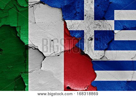 Flags Of Italy And Greece Painted On Cracked Wall