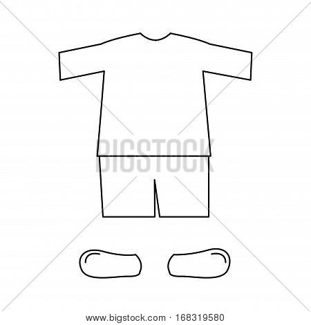 silhouette with male clothing pijama short vector illustration