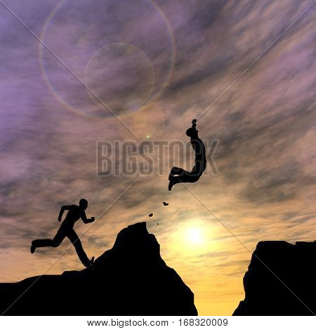 Concept or conceptual young 3D illustration man or businessman silhouette jump happy from cliff over gap sunset or sunrise sky background for freedom, nature, mountain, success, free, joy, health risk