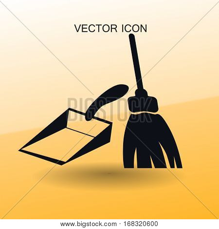 broom and dustpan vector illustration