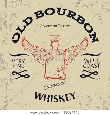 Whiskey Label Design. T-shirt Print. Vector illustration