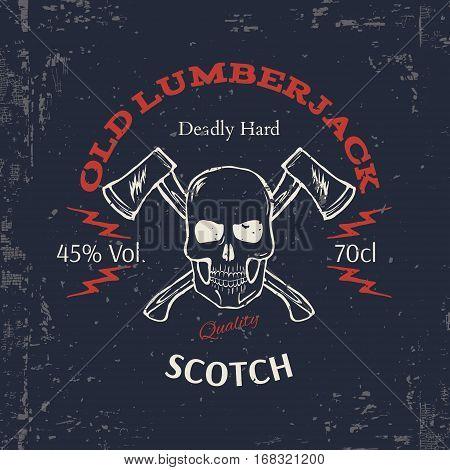 Whiskey Label Design. T-shirt Print. Vector illustration