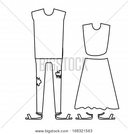 silhouette with pair clothing pijamas vector illustration