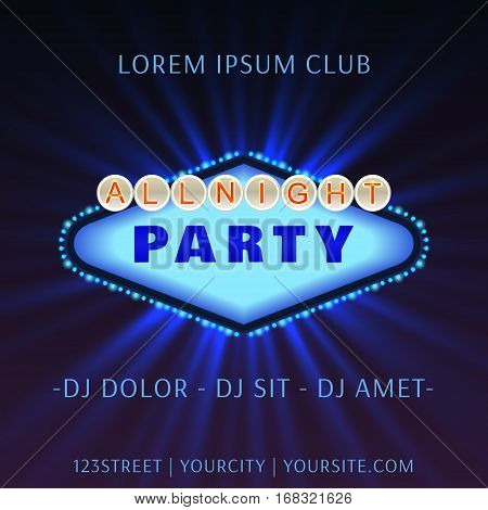 All Bight Party Club Poster Vector Illustration