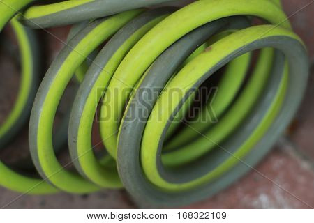 green two tone garden hose coiled up on patio in back yard
