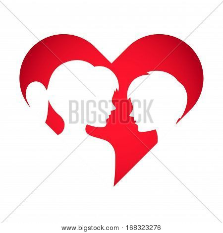 Vector stock of boy and girl silhouette inside a love symbol