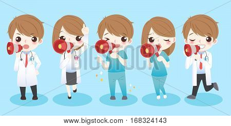 cute cartoon doctors take microphone and smile to you