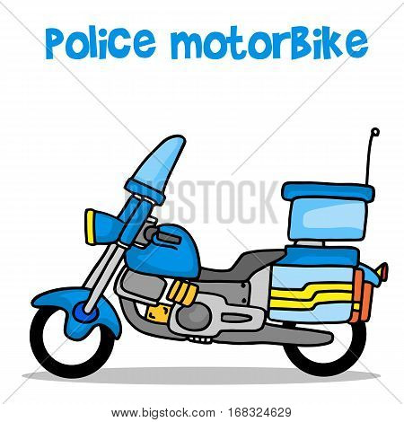 Collection transport of police motorbike vector illustration