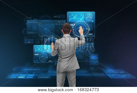 business, people, technology, cyberspace and future concept - businessman working with virtual screens
