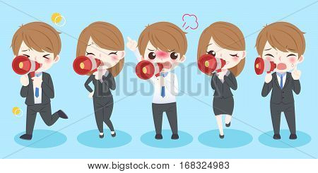 cute cartoon business people take microphone and shout to you