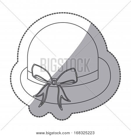 sticker contour lace bowler hat with bow retro design vector illustration