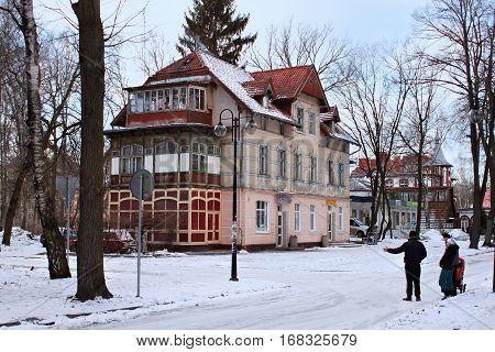 SVETLOGORSK, KALININGRAD REGION, RUSSIA - FEBRUARY 13, 2011: Old former german building in famous russian sea resort Svetlogorsk (Rauschen) at winter. Kaliningrad region Russia.