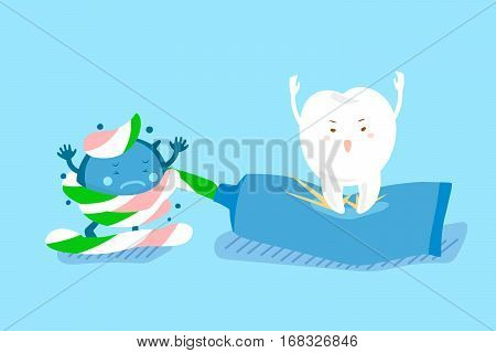 cute cartoon tooth use paste with bacteria