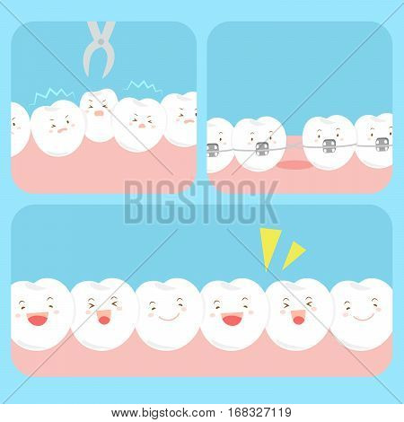 cute happy cartoon tooth with health dental care