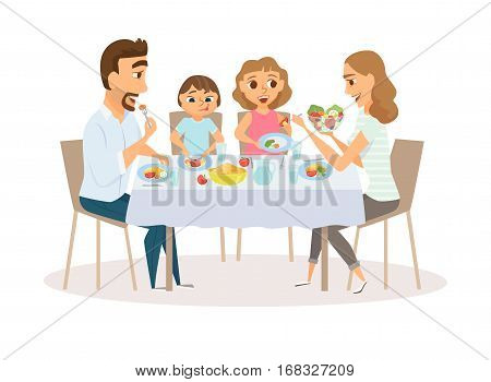Family eating meal around kitchen table. Happy daddy, mom and their two kids sitting eating healthy lunch in home or restaurant. Diner parents and children smile and laughing together.