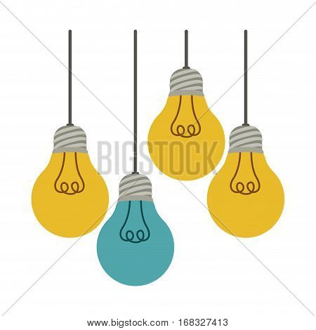 colorful hanging bulbs with filaments illuminated vector illustration