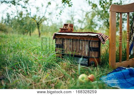 still life with retro radio on wooden over green leave wall background