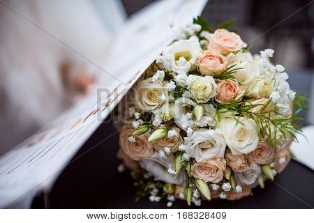 Beautiful white wedding bouquet in bride's room