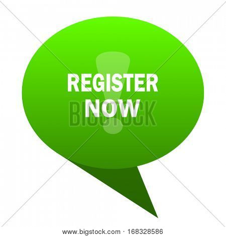 register now green bubble web icon