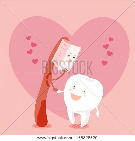 cute cartoon tooth and brush with heart