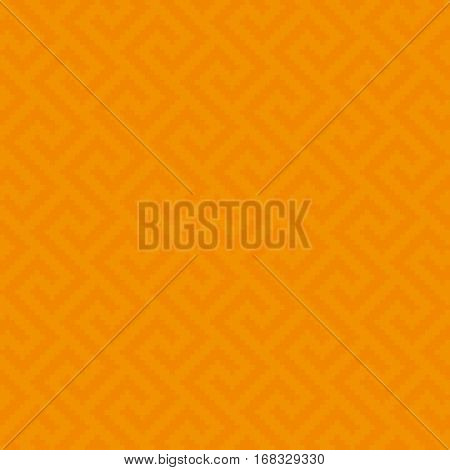 Orange Meander Pixel Art Pattern. Neutral Seamless Pattern for Modern Design in Flat Style. Tileable Greek Key Vector Background.