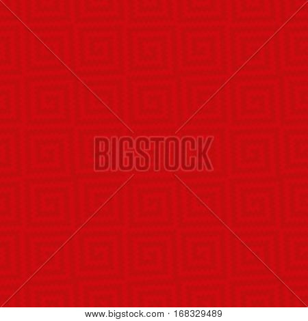 Red Meander Pixel Art Pattern. Neutral Seamless Pattern for Modern Design in Flat Style. Tileable Greek Key Vector Background.