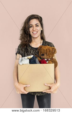 Woman Studio Portait Casual Carrying a Box Isolated