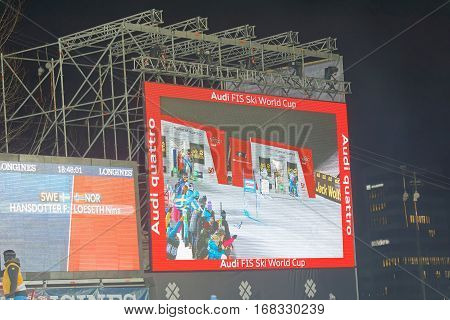 STOCKHOLM SWEDEN - JAN 31 2017: Large jumbotron display at the parallel slalom downhill skiing eveny at the Alpine Audi FIS Ski World Cup - city event January 31 2017 Stockholm Sweden