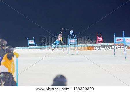STOCKHOLM SWEDEN - JAN 31 2017: Lina Hansdotter (SWE) makes a spectacular jump in the parallel slalom downhill skiing at the Alpine Audi FIS Ski World Cup - city event January 31 2017 Stockholm Sweden