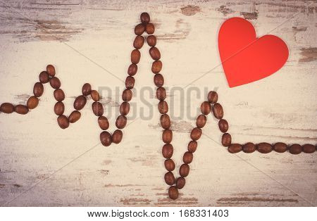 Vintage Photo, Cardiogram Line Of Roasted Coffee Grains And Red Heart, Medicine And Healthcare Conce