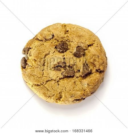 A photo of a crunchy chocolate chips cookie, shot from above on a white background, with copy space