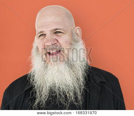 Men Adult Long Beard Bald Head Smile