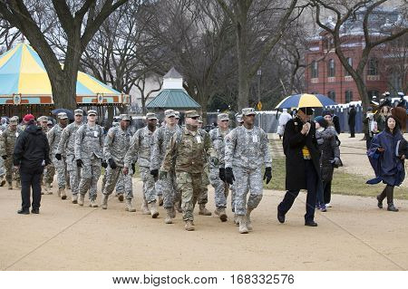 WASHINGTON DC - JANUARY 20: National Guard Soldiers march duringInauguration of Donald Trump. Taken January 20 2017 in District of Columbia.