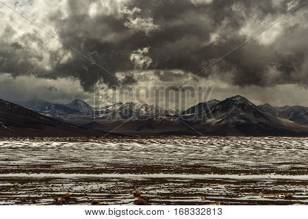 mountain chain of the Cordillera de los Andes on the border between Argentina and Chile