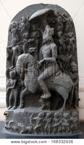 KOLKATA, INDIA - FEBRUARY 09: Revanta, from 11th century found in Basalt, Bihar now exposed in the Indian Museum in Kolkata, West Bengal, India on February 09, 2016.